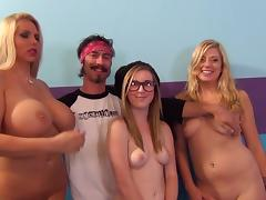 Wild group sex with three chicks, a guy and some toys