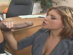 Horny bombshell giving big black cock blowjob before moaning as she gets throbbed doggystyle in the office